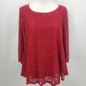 Roz & Ali red lace long sleeve tunic top | Size S*